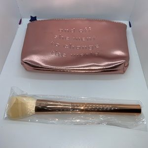 Other - Rose Gold Cosmetic Bag & Make-Up Brush—New